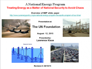 A National Energy Program: Treating Energy as a Matter of National Security to Avoid Chaos