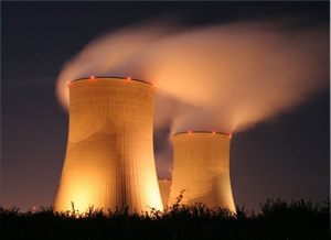 Nuclear-power-plant-at-night