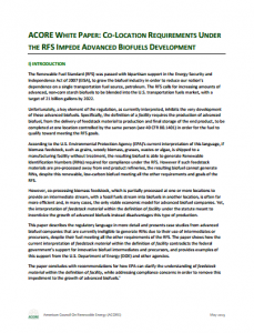 Co-Location Requirements Under The RFS Impede Advanced Biofuels Development