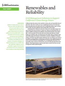 Renewables and Reliability: Grid Management Solutions to Support California's Clean Energy Future