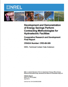 Development and Demonstration of Energy Savings Perform Contracting Methodologies for Hydroelectric Facilities