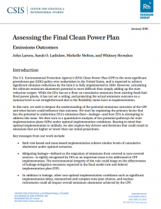 Assessing the Final Clean Power Plan: Emissions Outcomes