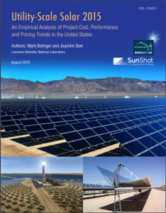 Utility-Scale Solar 2015 Utility-Scale Solar 2015. An Empirical Analysis of Project Cost, Performance, and Pricing Trends in the United States U