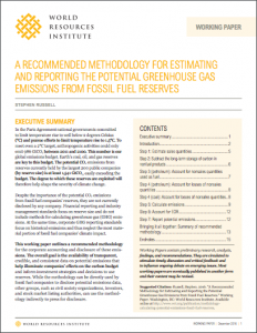 A Recommended Methodology for Estimating and Reporting the Potential Greenhouse Gas Emissions from Fossil Fuel Reserves