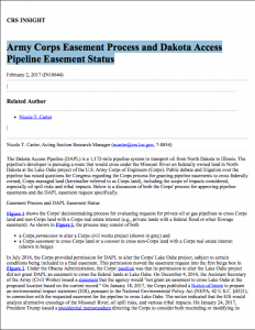 Army Corps Easement Process and Dakota Access Pipeline Easement Status