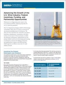 Advancing the Growth of the U.S. Wind Industry: Federal Incentives, Funding, and Partnership Opportunities