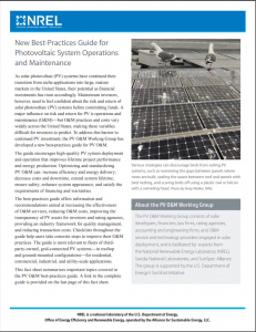 New Best-Practices Guide for Photovoltaic System Operations and Maintenance