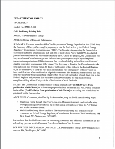 Department of Energy. Notice of Proposed Rulemaking – Grid Resiliency Pricing Rule