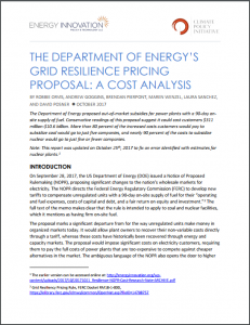 The Department Of Energy's Grid Resilience Pricing Proposal: A Cost Analysis