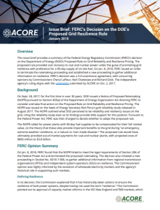 Issue Brief: FERC's Decision on the DOE's Proposed Grid Resilience Rule