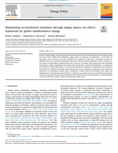 Humanizing sociotechnical systems through energy justice: New conceptual frameworks for global transformative change