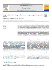 Energy policy regime change and advanced energy storage: A comparative analysis
