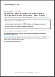 The Affordable Clean Energy Rule and the Impact of Emissions Rebound on Carbon Dioxide and Criteria Air Pollutant Emissions