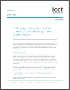 Emerging policy approaches to electrify ride-hailing in the United States