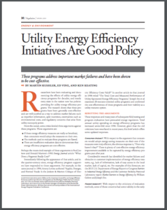 Utility Energy Efficiency Initiatives Are Good Policy