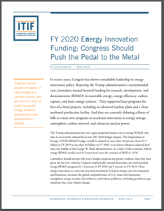 FY 2020 Energy Innovation Funding: Congress Should Push the Pedal to the Metal