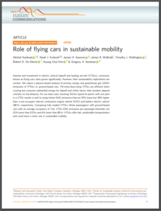 Role of flying cars in sustainable mobility