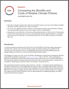 Comparing the Benefits and Costs of Notable Climate Policies