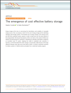 The Emergence of Cost Effective Battery Storage