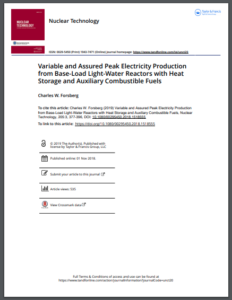 Variable and Assured Peak Electricity Production from Base-Load Light-Water Reactors with Heat Storage and Auxiliary Combustible Fuels