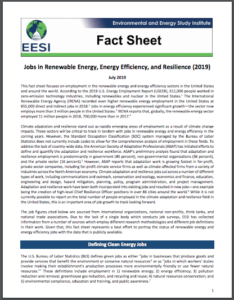 Jobs in Renewable Energy, Energy Efficiency, and Resilience Fact Sheet