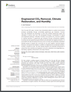 Engineered CO2 Removal, Climate Restoration, and Humility