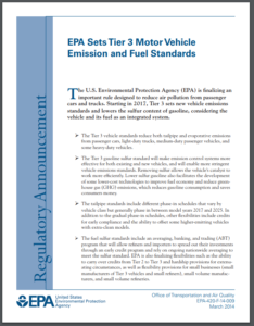 EPA Sets Tier 3 Motor Vehicle Emission and Fuel Standards