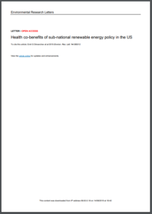 Health Co-Benefits of Sub-National Renewable Energy Policy in the US
