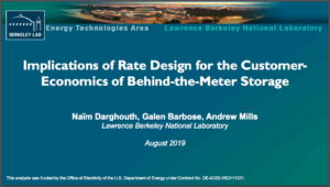 Implications of Rate Design for the Customer Economics of Behind-the-Meter Storage