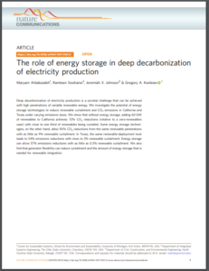 The Role of Energy Storage in Deep Decarbonization of Electricity Production