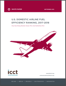 U.S. domestic airline fuel-efficiency ranking 2017-2018