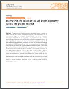 Estimating the scale of the US green economy within the global context