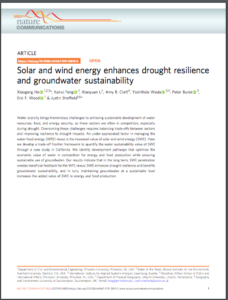 Solar and wind energy enhances drought resilience and groundwater sustainability