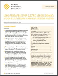 USING RENEWABLES FOR ELECTRIC VEHICLE DEMAND: A REVIEW OF UTILITY PROGRAM DESIGNS & IMPLEMENTATION STRATEGIES
