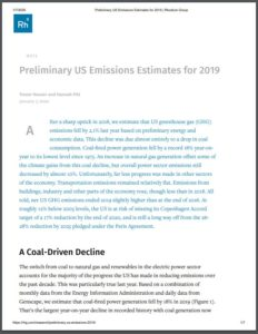 Preliminary US Emissions Estimates for 2019