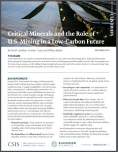 Critical Minerals and the Role of U.S. Mining in a Low-Carbon Future