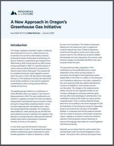 A New Approach in Oregon's Greenhouse Gas Initiative