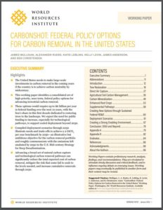 CarbonShot: Federal Policy Options for Carbon Removal in the United States
