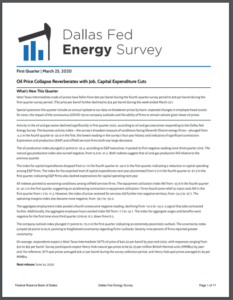 Dallas Fed Energy Survey: Oil Price Collapse Reverberates with Job, Capital Expenditure Cuts