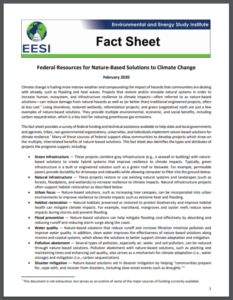 Fact Sheet: Federal Resources for Nature-Based Solutions to Climate Change