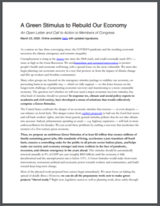 A Green Stimulus to Rebuild Our Economy: An Open Letter and Call to Action to Members of Congress