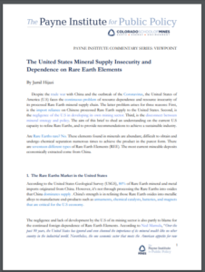 The United States Mineral Supply Insecurity and Dependence on Rare Earth Elements