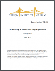 The Race Gap in Residential Energy Expenditures