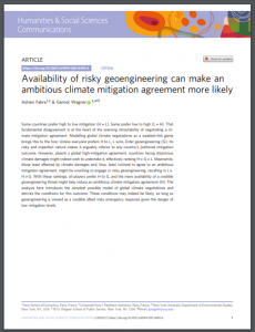 Availability of Risky Geoengineering Can Make an Ambitious Climate Mitigation Agreement More Likely