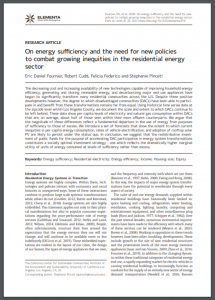 On energy sufficiency and the need for new policies to combat growing inequities in the residential energy sector
