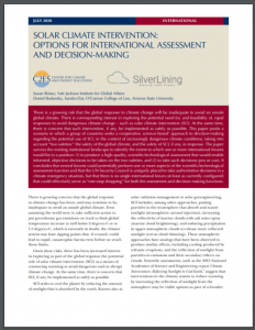Solar Climate Intervention: Options for International Assessment and Decision-Making