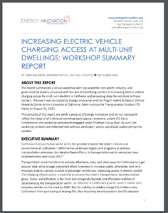 Increasing Electric Vehicle Charging Access At Multi-Unit Dwellings: Workshop Summary Report