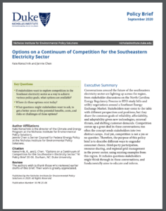 Options on a Continuum of Competition for the Southeastern Electricity Sector