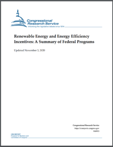 Renewable Energy and Energy Efficiency Incentives: A Summary of Federal Programs November 3, 2020 Update