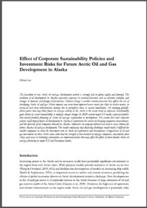 Effect of Corporate Sustainability Policies and Investment Risks for Future Arctic Oil and Gas Development in Alaska